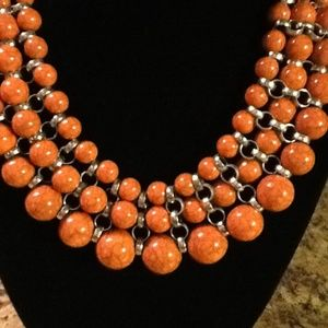 Jewelry - Orange Beads/ Gray Streaks/ Silver Tone Necklace